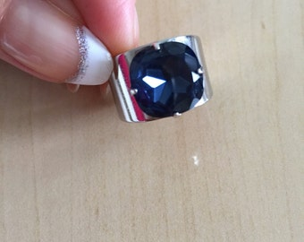 Gorgeous Statement Ring with Indigo Blue Glass Crystal. Elegant Big Ring. Large Ring. Adjustable.