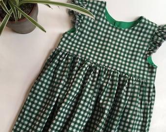 Girls' Green Gingham Flutter Sleeve Dress
