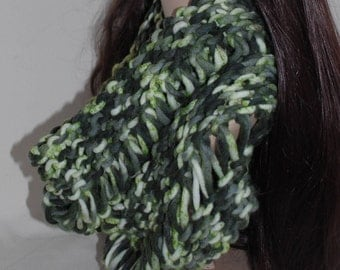 Soft Wool Knitted Cowl/Hood in Woodland Greens