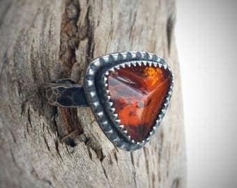 Sterling Silver and Amber Ring, Size 7 - Hammered Oxidized Silver and Baltic Amber
