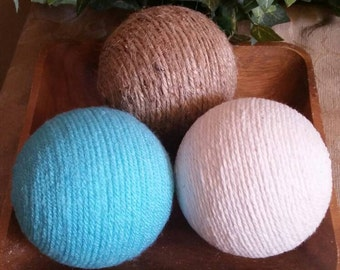 Decorative Yarn Balls; Aqua and Jute Decorative Balls; Deco Balls; Vase Fillers