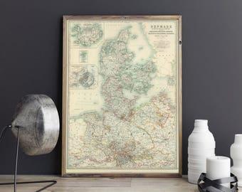Map of Denmark 1893| Iceland Map| Faroe Islands Map| Holstein Old Map| Denmark Old Map| Scandinavia Old Map| Copenhagen Map| AMC111
