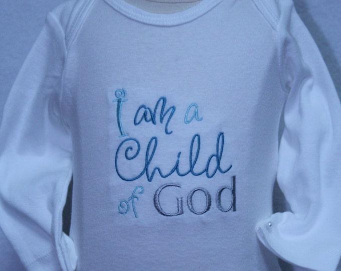 Boy Easter bodysuit,I am a Child of God, Blessing bodysuit,Baptism bodysuit,Religous bodysuit, Boy Baptism shirt,Church of Jesus Christ, LDS