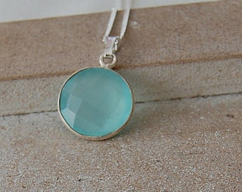 Silver necklace with chalcedony pendant