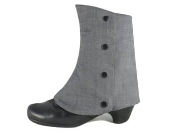 Spats Reversible Gray And Black, Ankle Boot Cover, Steampunk Spats