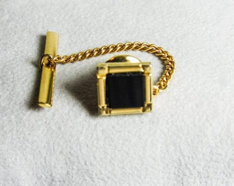 """Vintage Gold Plated Black Square Tie Tack with 1 1/2"""" Chain"""