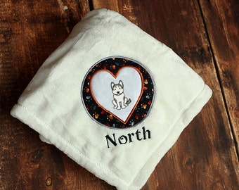 Siberian Husky Dog Blanket Personalized Embroidered