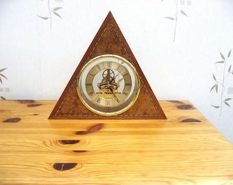 Handmade Pyramid Shaped Triangular Skeleton Clock with Quartz Movement.