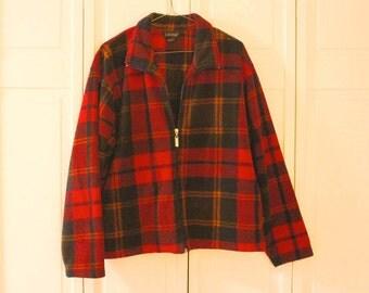 Fleece red and black plaid zip up jacket