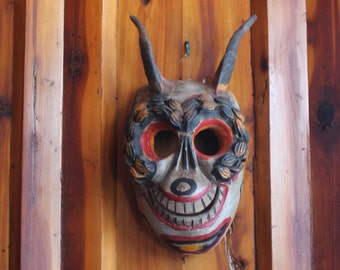 Early Vintage Day of the Dead Mexican Folk Art Face Mask