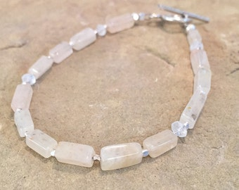 Yellow bracelet, citrine gemstone bracelet, rectangle bead bracelet, moonstone bracelet, Hill Tribe silver bracelet, unique bracelet
