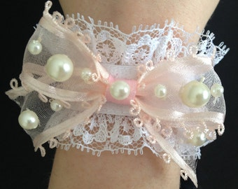 Sweet Lolita Wrist Cuffs: Bracelet Pair with White Lace, Pink Bows, Faux Pearls, and Acrylic Gems