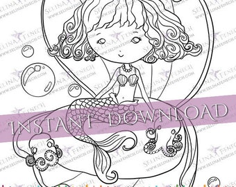 mermaid in clam shell coloring pagedigi stamp fantasy printable download by selina fenech