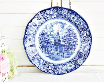 """Vintage Liberty Blue Dinner Plate 9 3/4"""": English Plate, Blue Transferware Plate, Blue Dinner Plate, Vintage Wall Plate, Pretty Dinner Plate"""