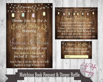 Rustic Baby Shower Invitation - Baby Q - CoEd Baby Shower - Barbecue Baby Shower - Gender Neutral - Baby Q Invitation - Printable