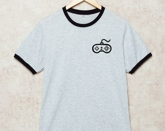 Video Game Shirt Gamer T Shirts Gaming T-Shirt Pocket Ringer Grey Size S , M , L , XL , 2XL , 3XL three color ring