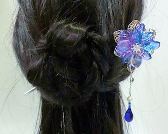 Chinese Purple-Blue Glass Petal Flower Hair Pin Hair Stick