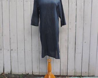 Vintage Black and Gold Lurex Sheer Cotton Gauze Caftan, Kurta, 3/4 Sleeve, Beach Cover-up, Summer Dress, Size - Medium