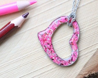 Necklace heart pewter made with recycled resin color pencils