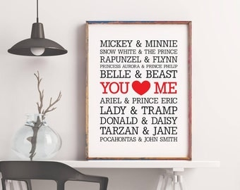 Famous Disney Couples Print wall art custom names, wedding anniversary printable decor typography, subway art