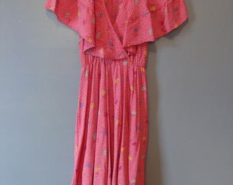 Vintage Dress 70's Fit and Flare Pink Polka Dot Colorful Fun Cross Over Front Flutter Sleeve Cape 1970's Flirty Party Dress Retro Summer