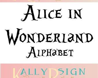Alice in wonderland SVG,  alphabet letters, svg fonts, monogram fonts, disney svg,disney princess,  disney alphabet, disney monogram svg,