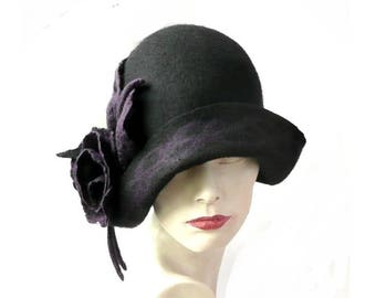 Black Felted  Hat, felt hat, Cloche Hat,1920 Hat, Art hat, Black Cloche, Victorian 1920's  Wool Women's hat, Felted hats,felted hat