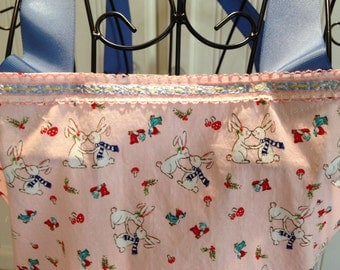 Daughter apron, full apron, kissing bunnies, bluebirds, blue ribbon, vintage ribbon trim, eyelet lace, blue lace, pink, blue, ruffles