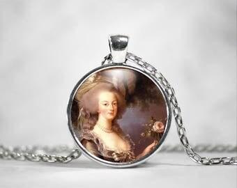 Marie Antoinette Necklace, 25mm Round Pendant, Paris France