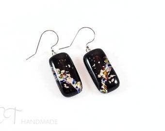 Black Murano glass Earring - Italian glass Murano earrings - Made in Italy venetian glass earrings - Italian jewelry - Murano glass jewelry