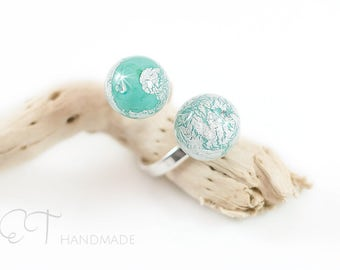 Murano glass mint double ring - Venetian glass mint green ring - Italian jewelry ball ring