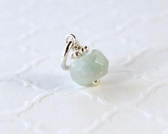 Natural Aquamarine Charm - Sterling Silver Dangle Bead Pendant - Genuine Aqua-Blue Aquamarine Gemstone - Necklace Jewelry - March Birthstone