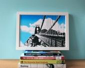 Clifton Suspension Bridge, Bristol, Architecture Print, UK, Industrial, Travel, A4 Screenprint, Home Decor, Silkscreen, Gift, Halftone