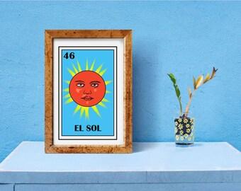 Mexican loteria, El sol loteria, Mexican Folk Art Sun, EL SOL Loteria Print, The sun loteria, Mexican Sol Sun, mexican mens restroom sign