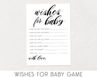 Wishes for Baby Game, Well Wishes, Calligraphy, Simple, Baby Shower Wishes, Printable Games