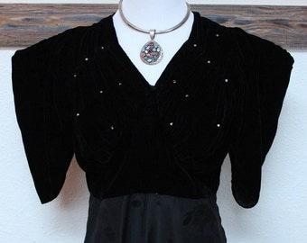 50's/60's Black Evening Dress *FREE SHIPPING**