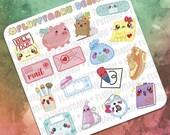 Daily Sticker Samplers || Planner Stickers, Cute Stickers for Erin Condren (ECLP), Filofax, Kikki K, Etc. || SS01