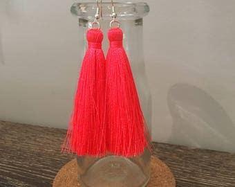 Neon Coral Tassel Earrings