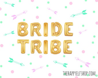 "16"" Gold BRIDE TRIBE balloons/banner. Bride balloons. Engagement party. Bridal shower. Bachelorette party. Hen party. Girls night. Wedding."