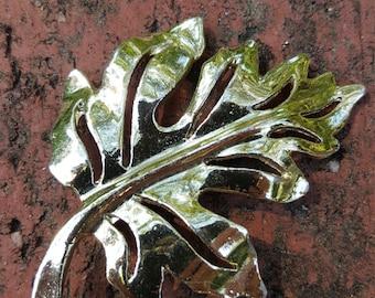 Vintage Leaf Brooch Pin Silver Fall Autumn