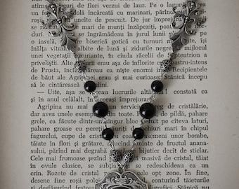 Gothic Necklace, victorian necklace, onyx pendant, victorian jewelry, gothic fashion,elegant jewelry, onyx jewelry, dark jewelry