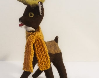 Felt Reindeer Stuffed Toy with Knitted Scarf