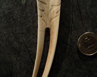 Carved antler vintage hairpin-Floral ornament- horn hairpin-Hand Carved Deer Antler
