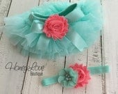SET Mint/Aqua tutu skirt bloomers diaper cover, shabby chiffon Coral flower headband bow, ruffles around, newborn infant toddler baby girl