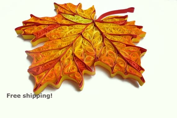 Items similar to quilled autumn leaves decorations wood fall home decor rustic nature - Thanksgiving decorations on sale ...