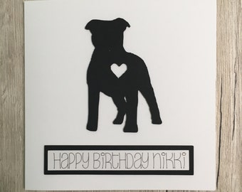 Handmade personalised staffy birthday card // Personalized staffordshire bull terrier birthday card // Happy birthday // Dog card