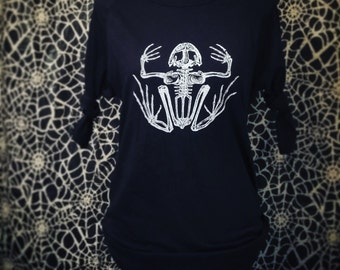 DREAD FROG - Men/Women Unisex Baseball 3/4 Sleeve T-Shirt in Black on Black with White Screenprint of a Frog Skeleton (Ready To Ship!)