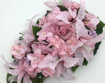 Pink Lily & Delicate Flower Corsage / Hair Clip Made From Vintage Flowers
