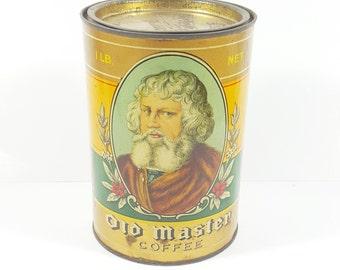 Antique Old Master Coffee Tin. Vintage Kitchen Tins.  1 lb. Coffee Tin. Collectible Decorative Tins. Yellow and Green Farmhouse Decor.