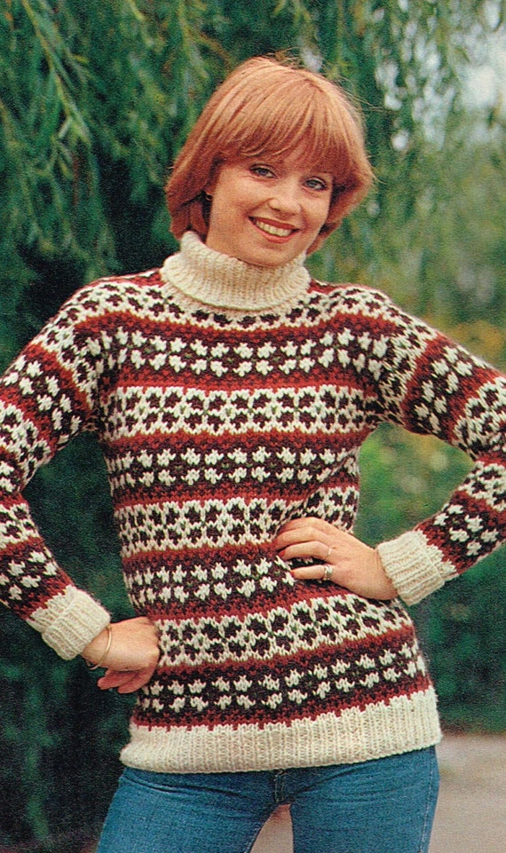 Fair Isle Sweater Pattern for the whole Family - 1970s vintage ...